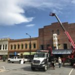 Road closed in downtown Elkin as Reeves Theatre installs new marquee